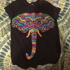 Other - Black T-shirt with colorful elephant